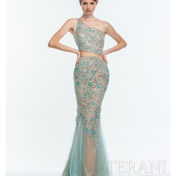 Terani Aqua & Nude Illusion Embellished Two Piece Gown Prom 2015