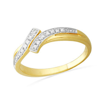 Diamond Accent Bypass Ring in 10K Gold