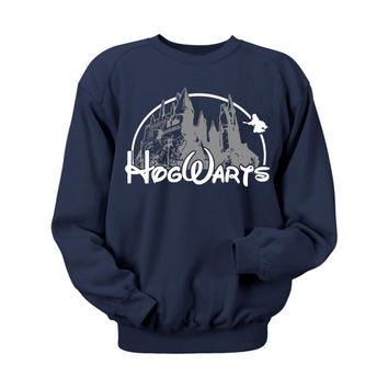 Hogwarts Castle Blue Crewneck Sweatshirt. Hogwarts Castle Campus Harry Potter Book Inspired Hoodie Sweatshirt. Hogwarts sweatshirt Harry Pot