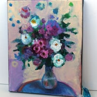 "Floral Still Life Abstract Act Modern Painting Original on Canvas ""Bouquet"""