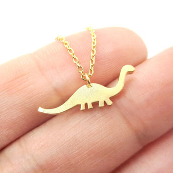 Brontosaurus Dinosaur Silhouette Prehistoric Animal Themed Charm Necklace in Gold - Brontosaurus Necklace in Gold