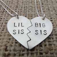 Sterling Silver &quot;Lil Sis, Big Sis&quot; Heart Necklace - Sterling Silver Big Sister, Little Sister Necklace