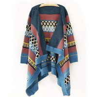 Blue Women Crochet Cardigan Sweater Autumn Jacket @A160bl