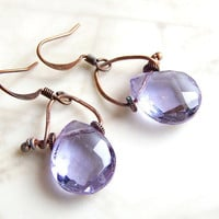 Alexandrite Earrings in a Romantic Industrial Style - Copper with patina green &amp; pale purple briolettes