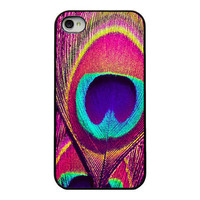 Peacock Iphone case - Iphone 4 4s cover - pink purple blue peacock feather - unique trendy girly iphone case - colorful - bright peacock