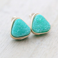 Triangle Druzy Studs (10mm)  -  4 colors available
