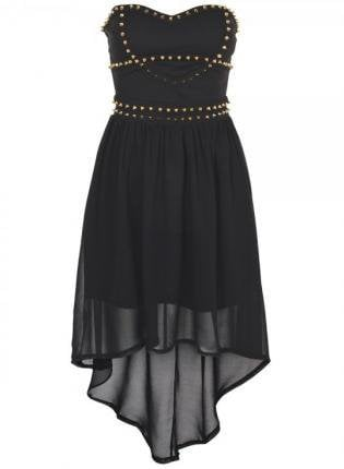 Black Strapless Chiffon Hi-Lo Dress with Stud Embellishment