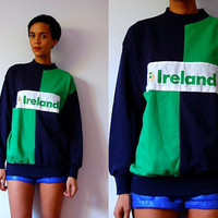 Vtg Ireland Green & Navy Color Block Cotton Sweatshirt