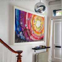 Acrylic painting Rainbow XXL Painting tree of life sunset art sunrise art Large wall art Contemporary art KSAVERA Modern decor Landscape