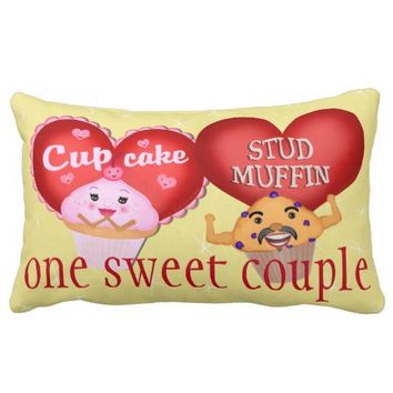 Custom Wedding Day Cupcake Muffin Couple Pillow