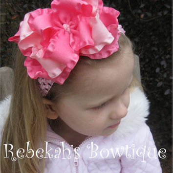 Valentines Day Triple Layer Double Ruffle Hair Bow Headband Clip bowband Infant Toddler Girls Baby Hot pink Pink Portrait Newborn