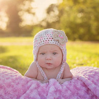 Light Pink Infant Camo Baby Diaper Cover, Hat with ear flaps and braids and optional Booties Set-  Baby Shower Gift,