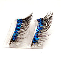 Natural Sea Blue Glitter Faux Lashes