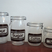 storage jars vintage 1970's graphic by valeriesvintagehome on Etsy