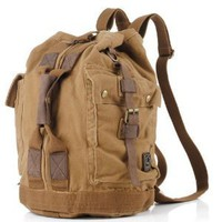 BROWN Canvas Military Style Backpack School Bag Camping Bag Large Size Classic Look