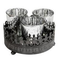 Set Of Three Mirrored Nitelite Holder With Lustre Finish | Candles | Home Accessories | 11.99 - The Contemporary Home Online Shop