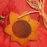 Sunflower Wall Hanging - Hand Painted Home Decor with Wire, Beads and Raffia