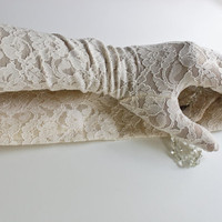 Ivory Lace Gloves - Vintage Elbow Length
