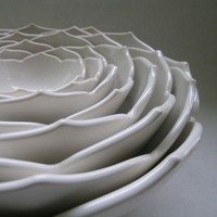 Eight Nesting Lotus Ceramic Bowls in Milk White by whitneysmith