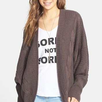 Junior Women's Sun & Shadow Cable Knit Cardigan,