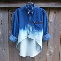 90s grunge studded high low denim shirt / long sleeve blue denim / dip dye / ombre bleached denim shirt MADE TO ORDER