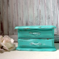 Teal Vintage Jewelry Box, Aqua Painted Wooden Jewelry Holder, Aqua Blue Jewelry Chest, Small Distressed Jewelry Box, Shabby Chic