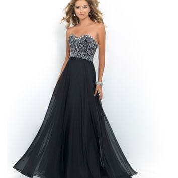 Preorder - Blush Prom Black Strapless Sweetheart Beaded Bodice Chiffon Dress Prom 2015
