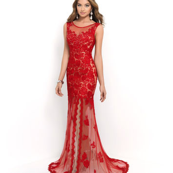 Preorder - Blush Prom Red Valentine & Nude Sheer Beaded Lace Low Back Gown Prom 2015