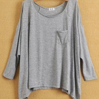 Women Euro Style Loose Casual Pocket Off the Shoulder Bat-wing Sleeve Light Grey Cotton T-Shirt One Size@WH0090lg $12.99 only in eFexcity.com.