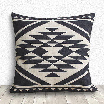 Pillow Cover, Aztec Pillow Cover, Tribal Pillow Cover, Linen Pillow Cover 18x18 - Printed Tribal - 173