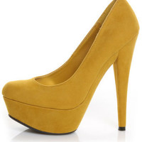 Anne Michelle Topgun 01 Mustard Yellow Platform Pumps