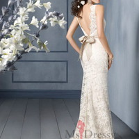 Sheath/Column Square Sweep Train Lace White Dress With Belt at Msdressy