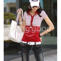 Korea Womens V-neck Stripe T-shirt Top Blouse 3 Colors Free Shipping!  - US$12.98