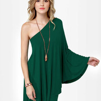 Sexy Green Dress - One Shoulder Dress - $59.00