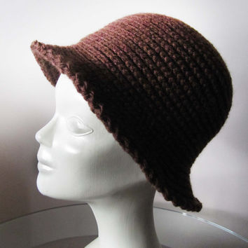 Crochet hat pattern / Chocolate brown knit hat...........