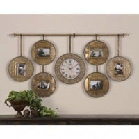 Uttermost Velone Hanging Photo Collage and Clock - 06699 - All Wall Art - Wall Art & Coverings - Decor