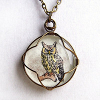 Owl Necklace - hand tinted owl wire wrapped in brass behind a glass cabochon  - Halloween Owl Jewelry
