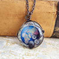 Steampunk Globe Pendant - Blue Earth Necklace with Gears - Steampunk Jewelry