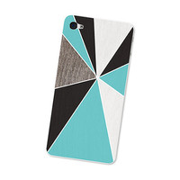 Geometric iPhone Skin: Wood Iphone Skin 4S - Gadget Decal for iPhone 4 - Triangle Minimalist in Turquoise Brown and White For Him Boho