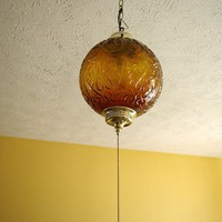 Amber Swag Lamp newly rewired and chained  price reduced by 51VC