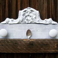 Hat Rack  White Shabby Chic Repurposed  Upcycled by NorScott