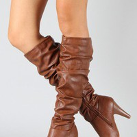 Bamboo Valencia-05 Leatherette Slouchy Knee High Boot
