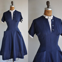 vintage 1950s Sky high navy blue textured by simplicityisbliss