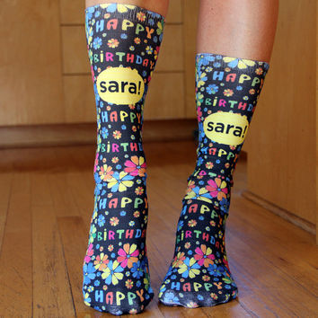 Full Print Custom Socks with Personalized Birthday Message - Adult Unisex Size fits Most