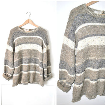 oversized sweater speckled NEUTRAL striped vintage 90s GRUNGE relaxed fit UNISEX pull over jumper open size