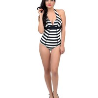 Unique Vintage Audrey Black & Ivory Striped One-Piece Vintage Swimsuit