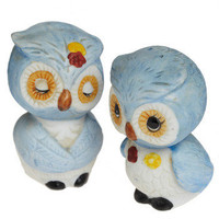 Vintage I Could Eat You Owl Up Shakers in Blue | Mod Retro Vintage Vintage Clothes | ModCloth.com