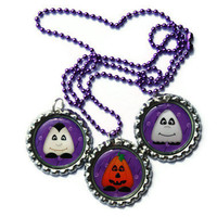 Halloween Pumpkin, Vampire, and Ghost BOO in Purple Handmade Set of Bottlecap Pendants with Purple Ball and Chain Necklace