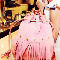 Pink Fashion Shoulder Bag With Tassel$44.00