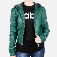 Members Only: Quilted Hoodie Jacket Emerald, at 45% off!